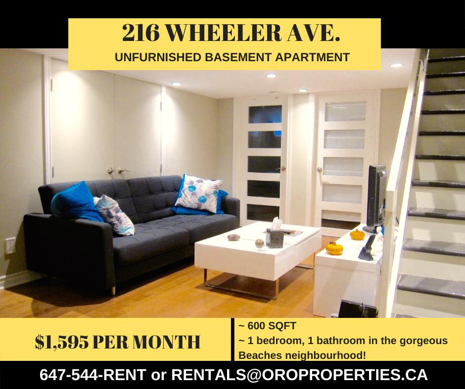 216 Wheeler Ave. – Welcome to The BEACHES! COZY 1 Bedroom 1 Bathroom