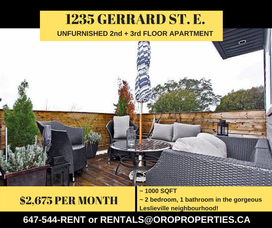 1235 Gerrard Upper – Stunning 2-Storey Loft Style House in The Heart of Leslieville!