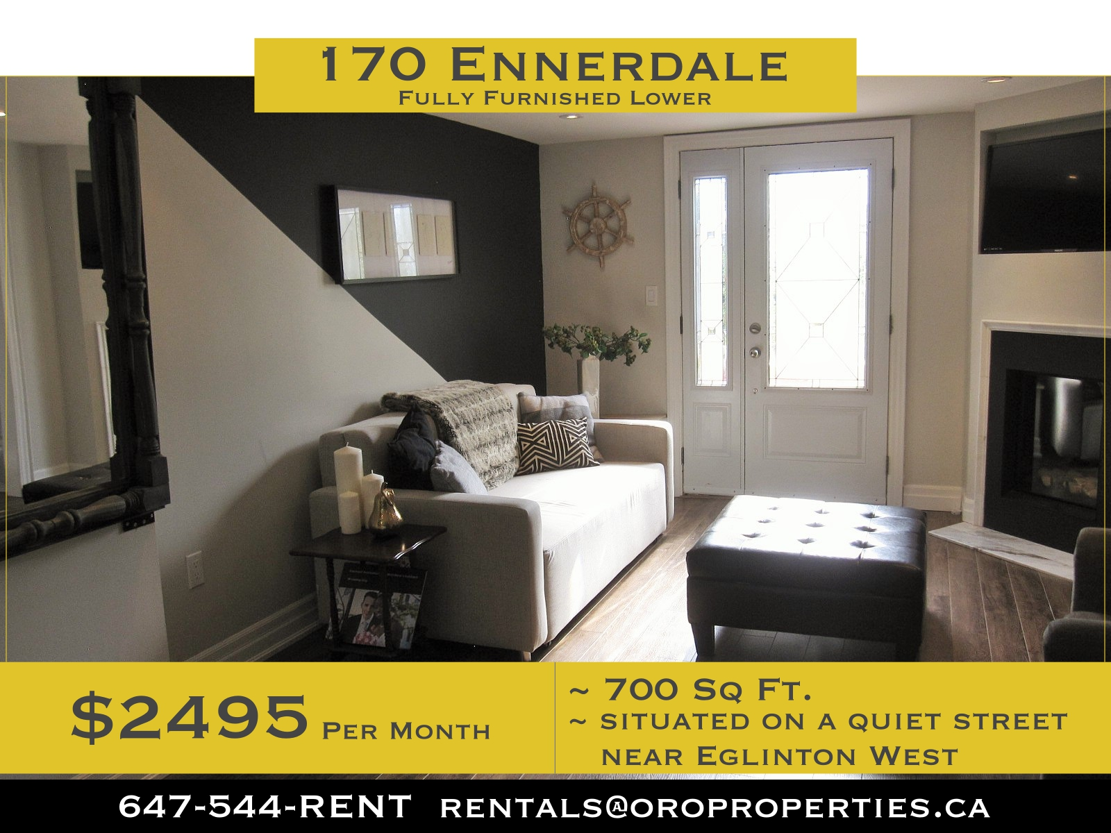Clean, Trendy Eglinton West Gem Not your average basement suite: 2-Bedroom Furnished