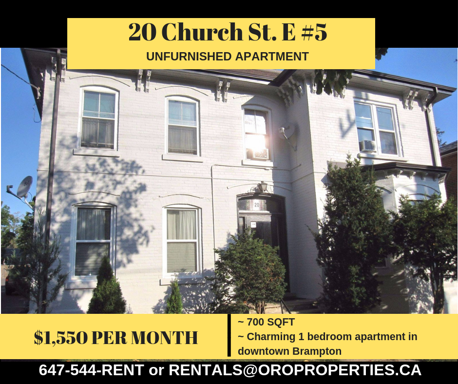 20 Church Street East – Beautiful one bedroom suite steps to all amenities!