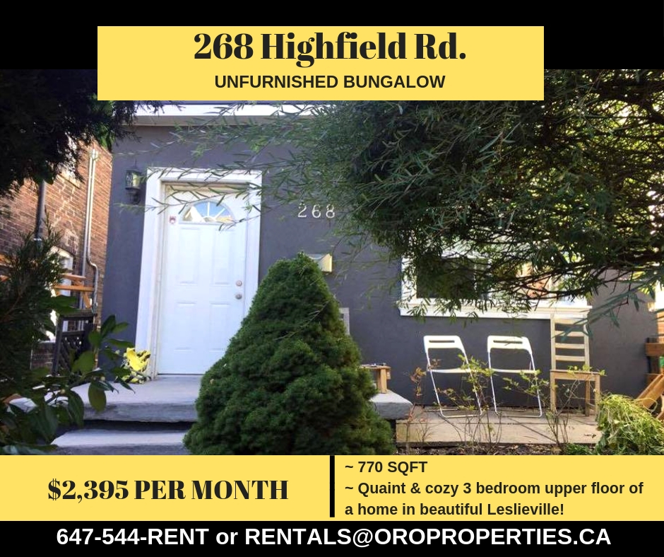 Quaint & Cozy 3 bed, 1 bath detached home in Leslieville!