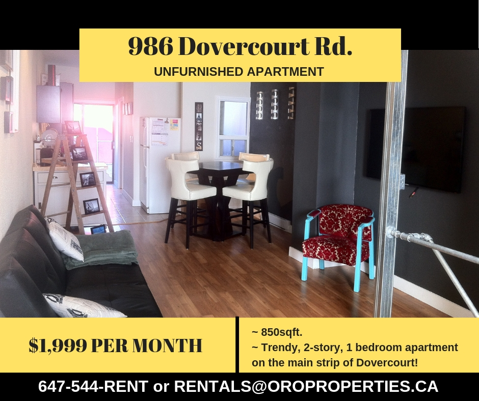986 Dovercourt – Trendy, 2-Story apartment on the main strip of Dovercourt!